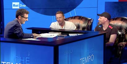 Two Chesterfield armchairs for the national TV show on Rai 3 - Guest star: Coldplay
