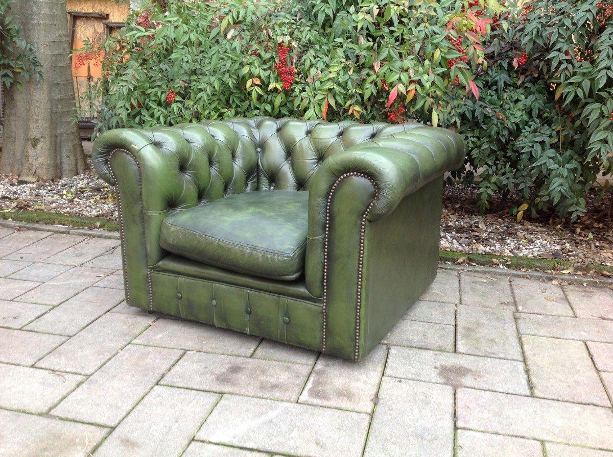Salotto Chesterfield color verde originale in vera pelle inglese vintage foto09-09-14142311.jpg
