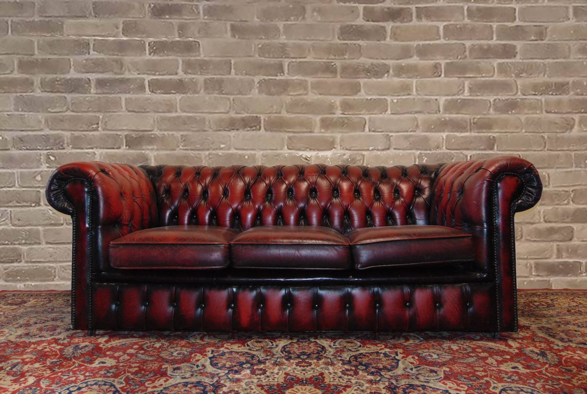 Original 3 Seater Chesterfield Sofa In Genuine Burgundy Leather