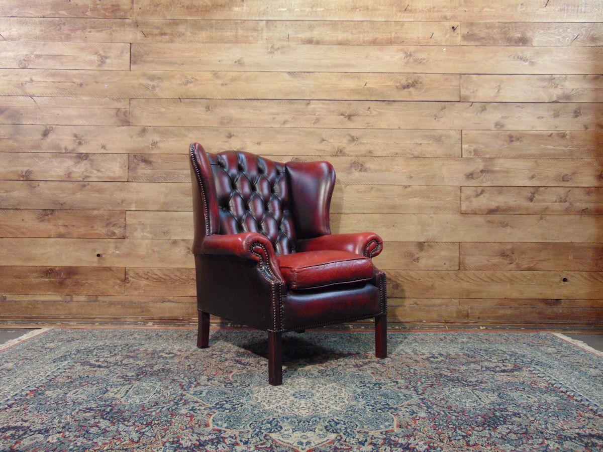 Vintage British Queen Anne Chesterfield armchair in genuine burgundy leather dsc01741.jpg
