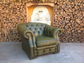 Salotto Chesterfield originale inglese vintage in vera pelle color verde foto04-04-150939131.jpg