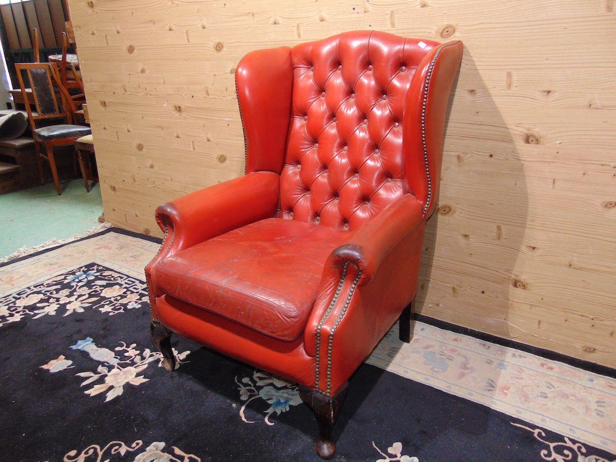 Chesterfield Queen Anne armchair red 2180....jpg