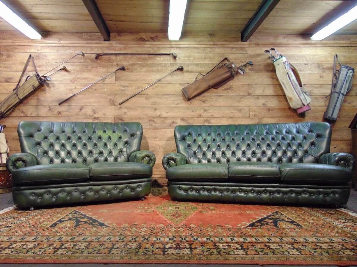Salotto Chesterfield originale in vera pelle inglese color verde dsc00171.jpg