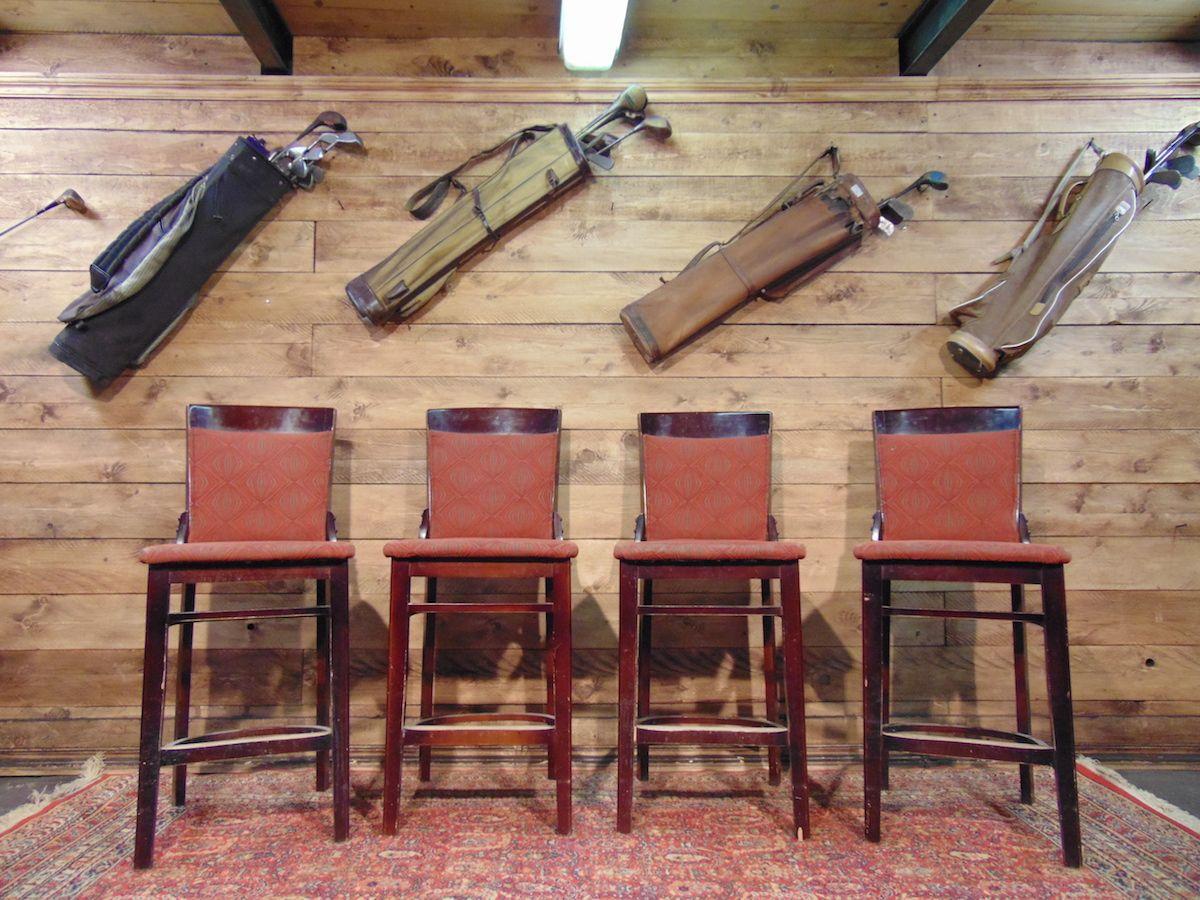 Sgabelli da pub in legno e tessuto