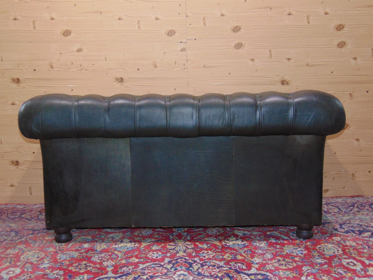 Salotto Chesterfield originale inglese vintage in vera pelle color verde dsc05465.jpg