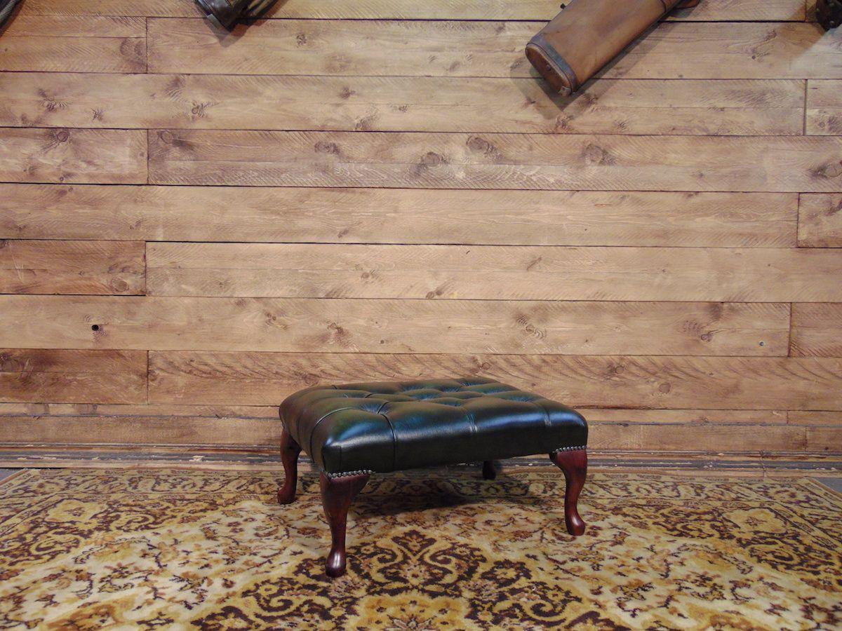 Pouf Chesterfield nuovo originale inglese in vera pelle di vitello color verde dsc00985.jpg