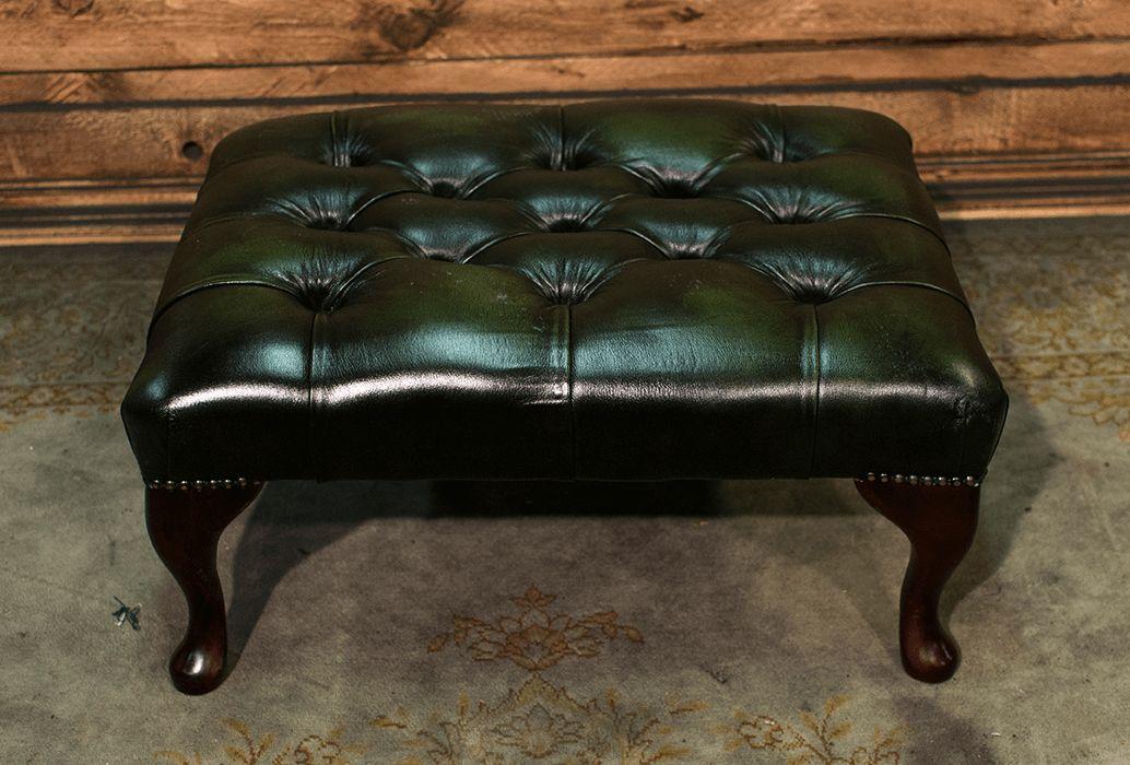 Pouf Chesterfield nuovo originale inglese in vera pelle di vitello color verde dsc_0586.png