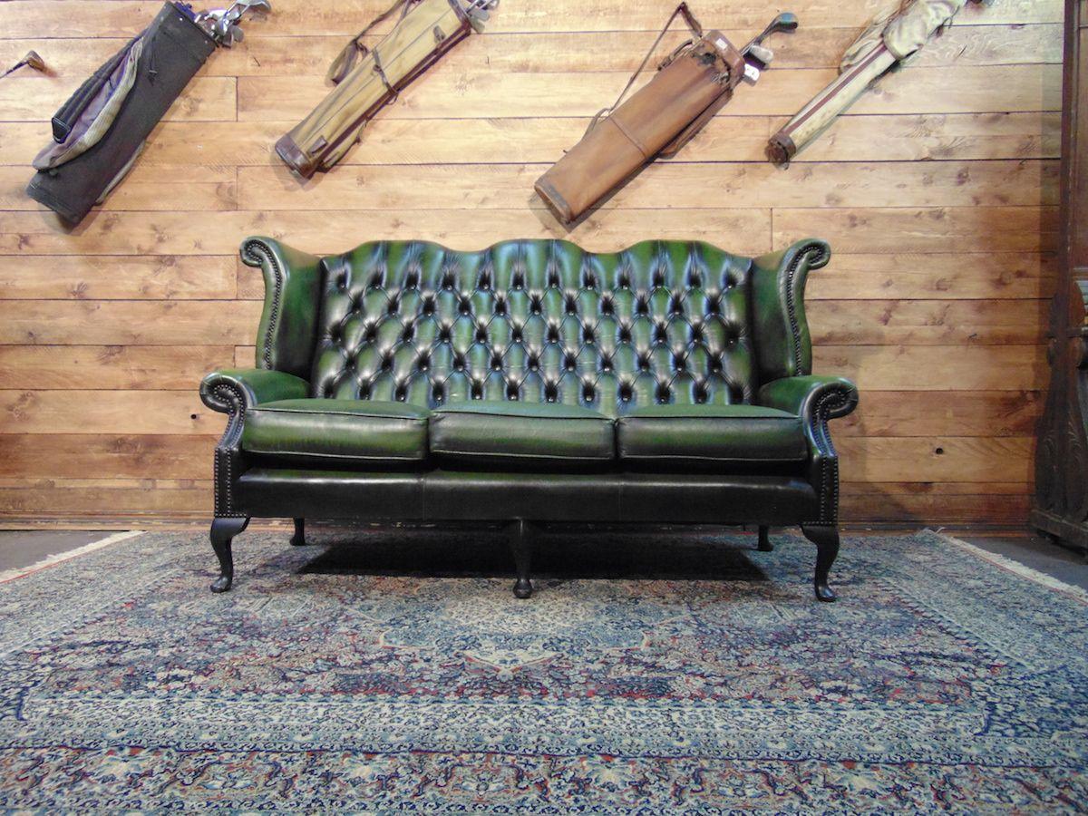 Divano Chesterfield Monk 3 posti originale inglese vintage in vera pelle color verde dsc01149.jpg