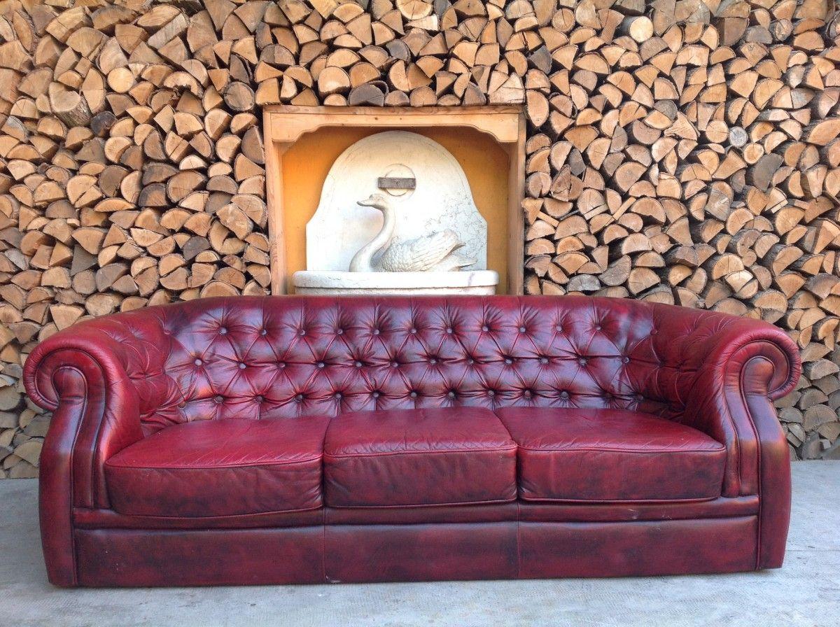 Divano Chesterfield 3 posti originale inglese vintage in vera pelle color rosso img_4255-1200.jpg