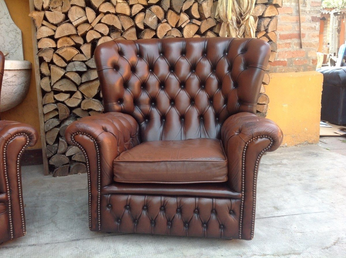 Poltrone Chesterfield Vintage.Poltrona Chesterfield Monk Originale Inglese Vintage In Vera