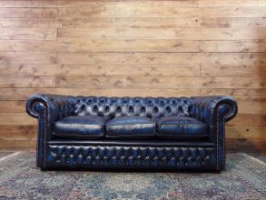 Divano Chesterfield 3 Posti.Brand New 3 Seater Chesterfield Sofa In Black Genuine Calf Leather