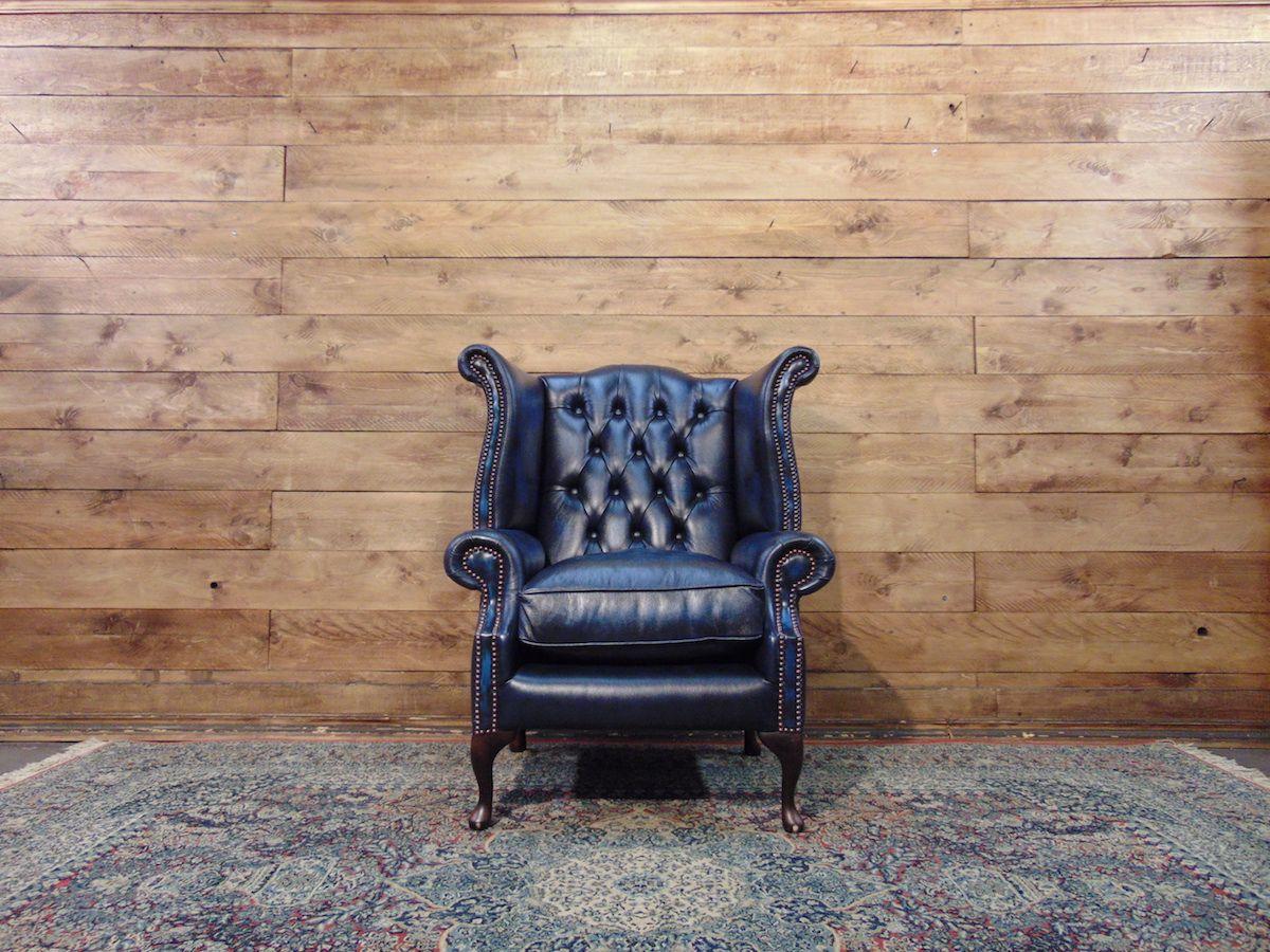 Poltrona Chesterfield Queen Anne nuova originale inglese in vera pelle di vitello color azzurro dsc01396.jpg