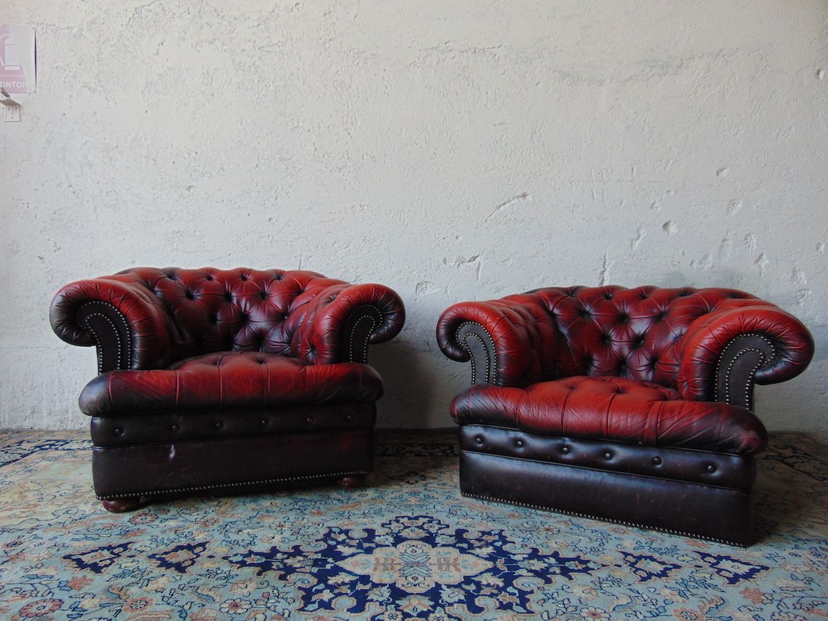 Pair of original English vintage Chesterfield Club armchairs in genuine burgundy leather dsc03415.jpg
