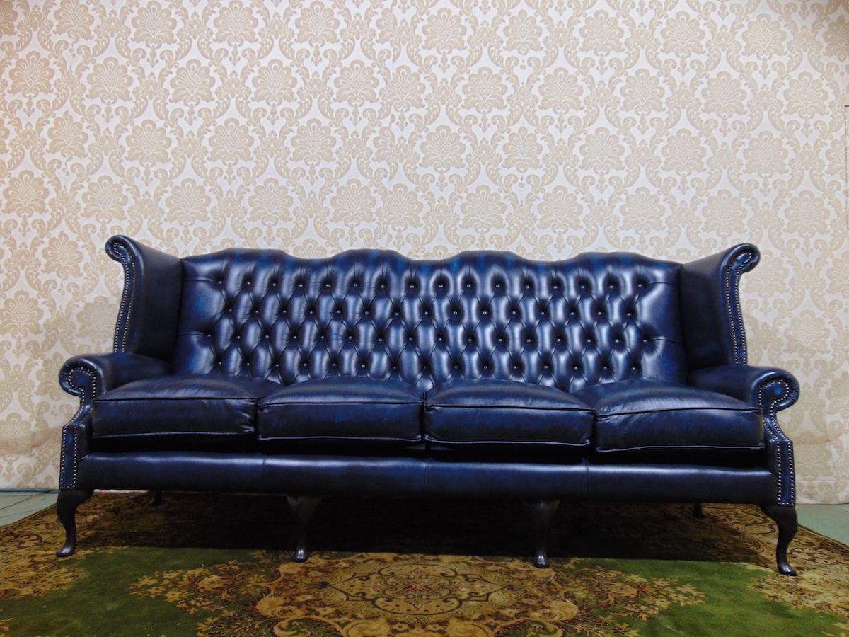 Divano Chesterfield Queen Anne 4 posti Nuovo color blu dsc00486.jpg
