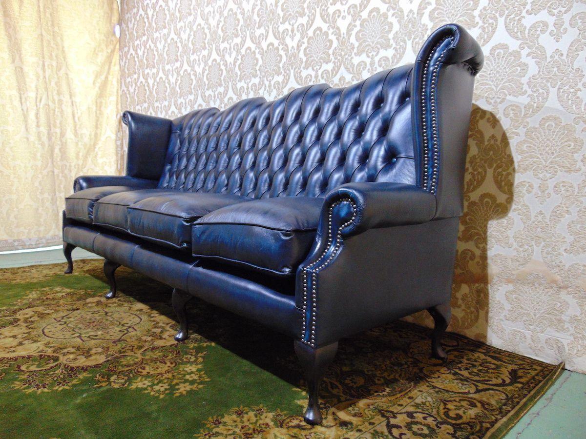 Divano Chesterfield Queen Anne 4 posti Nuovo color blu dsc00489.jpg