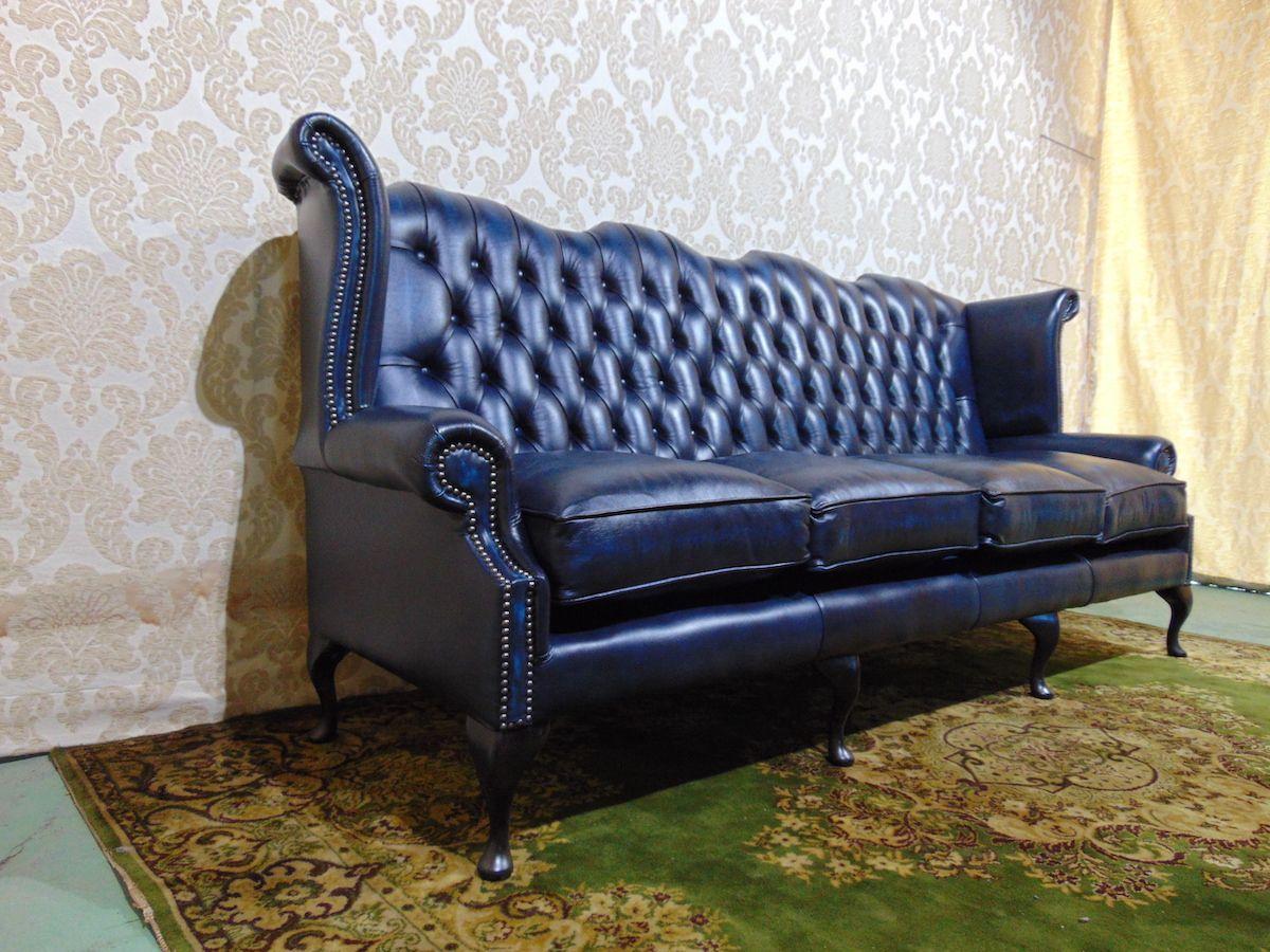 Divano Chesterfield Queen Anne 4 posti Nuovo color blu dsc00488.jpg